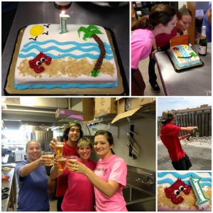 We celebrated this morning with a crabby cake and sparkling cider!